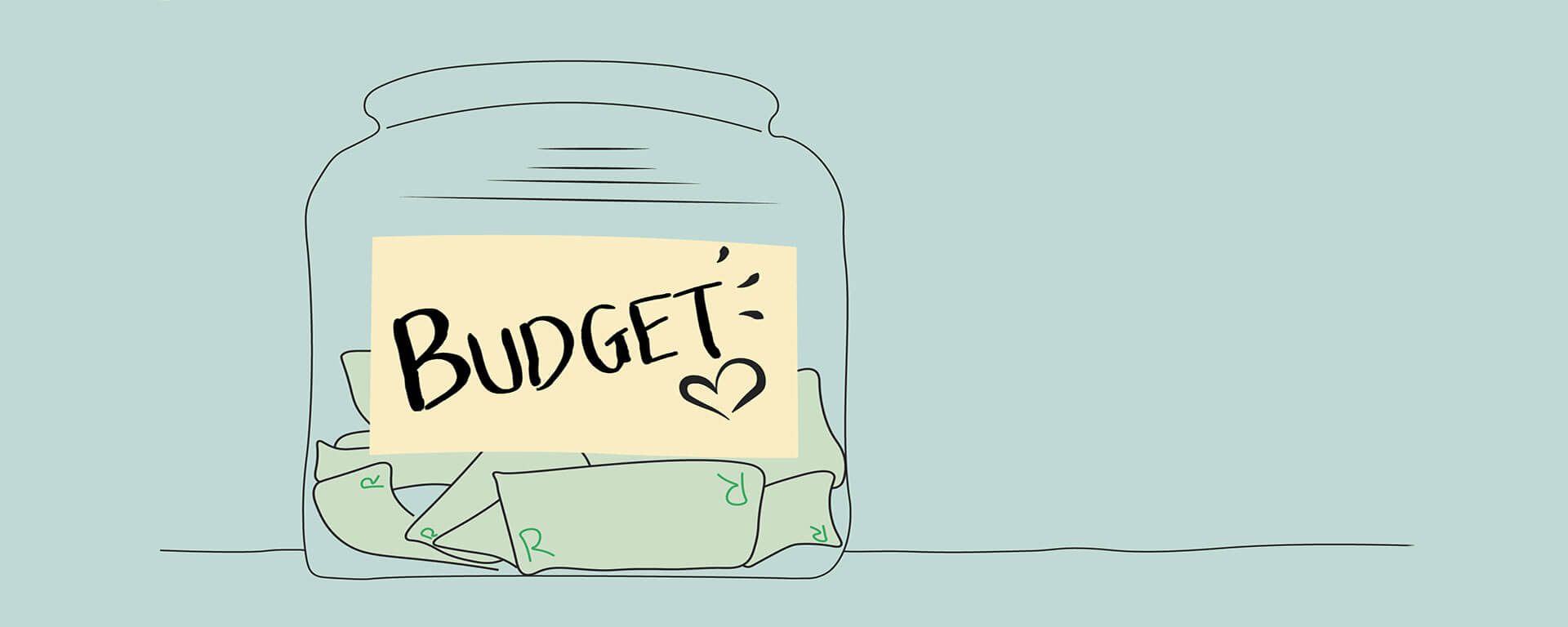 Saving jar labeled budget to live within your means