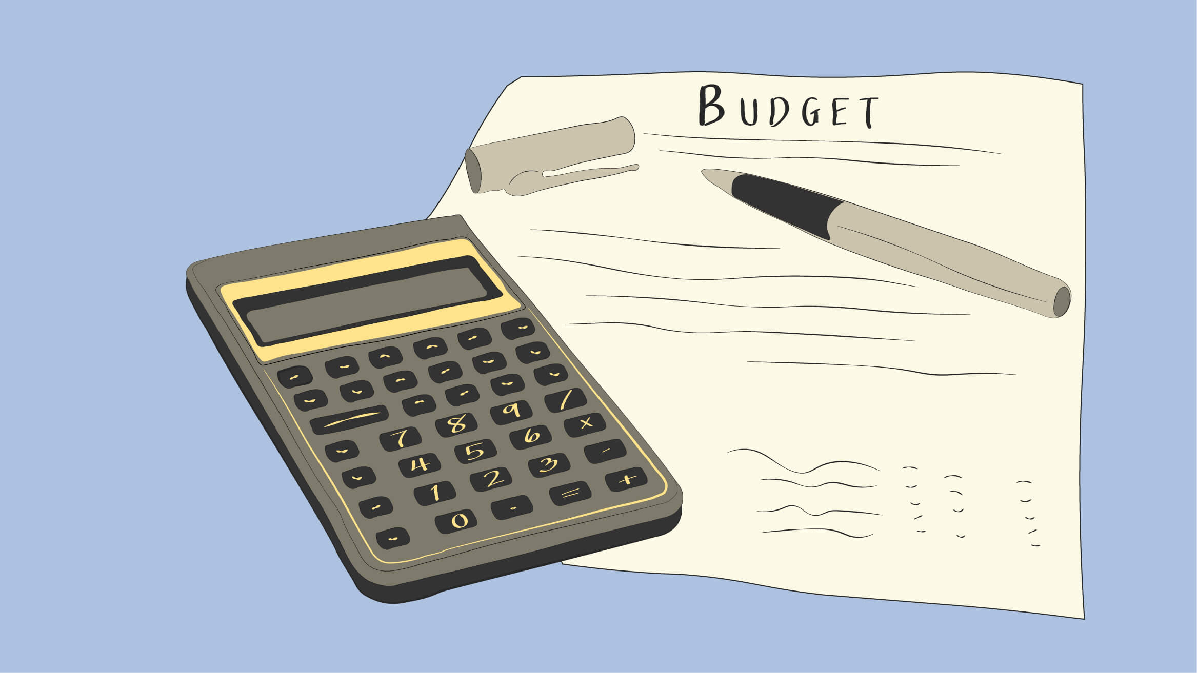 Traditional budget is written on a page with a pen and calculator sitting on top