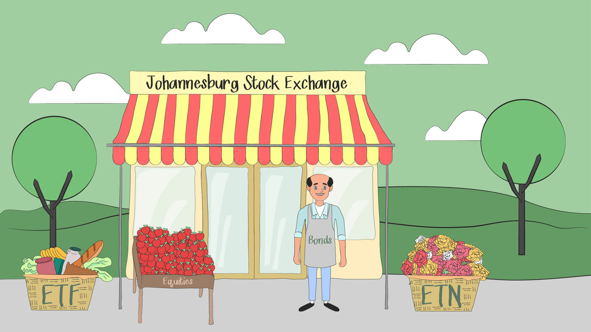 Johannesburg Stock Exchange depicted as small grocery store to help beginner investors understand concepts like equities