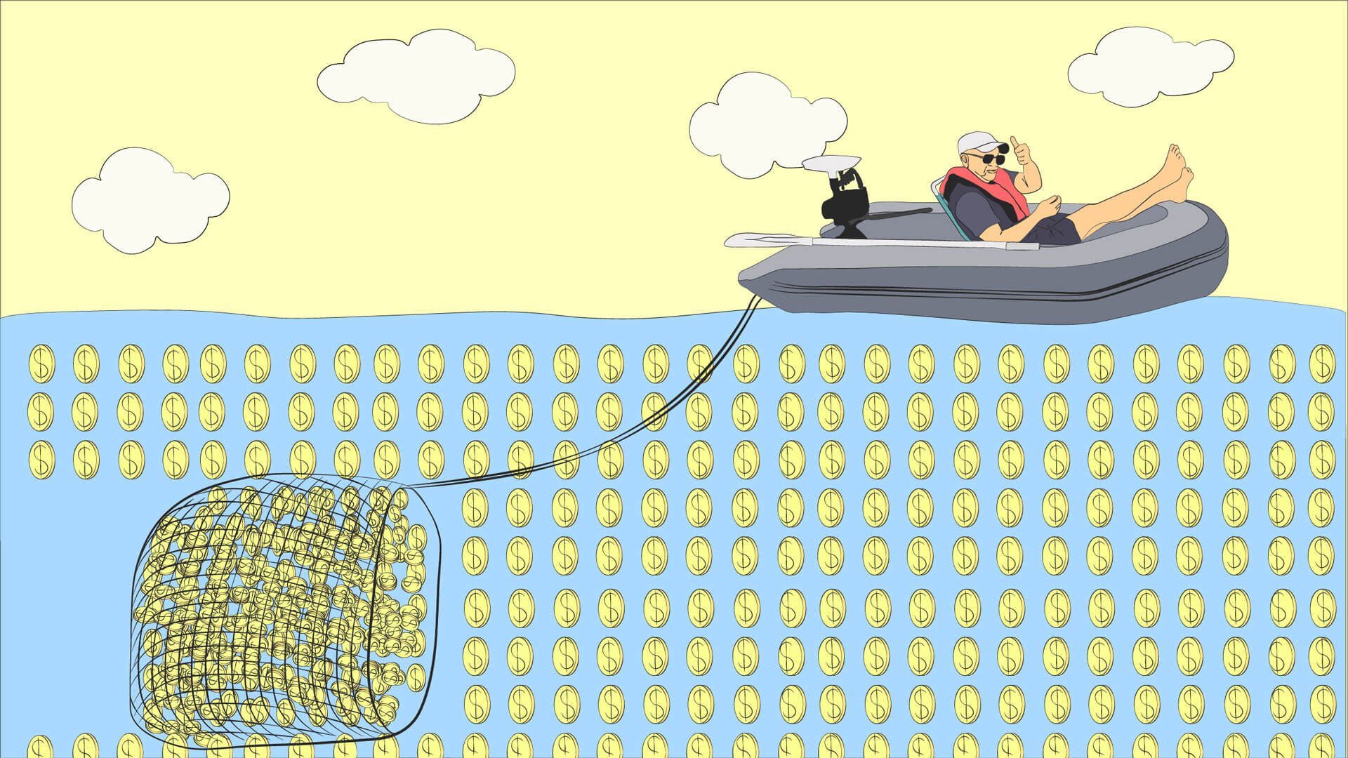 Man casts a net from a fishing boat collecting coins in the ocean to build his wealth