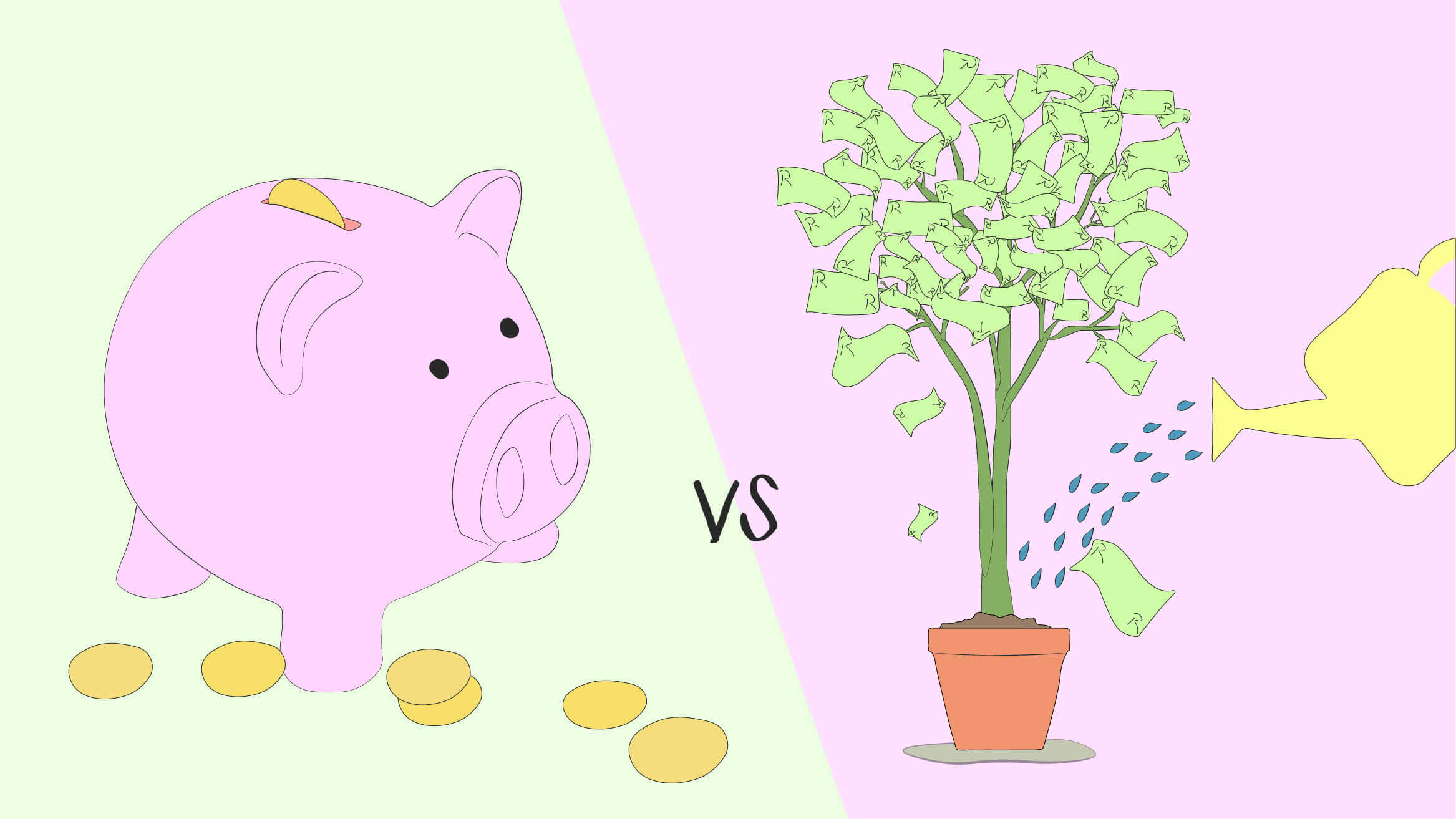 Saving piggy bank versus investing money tree