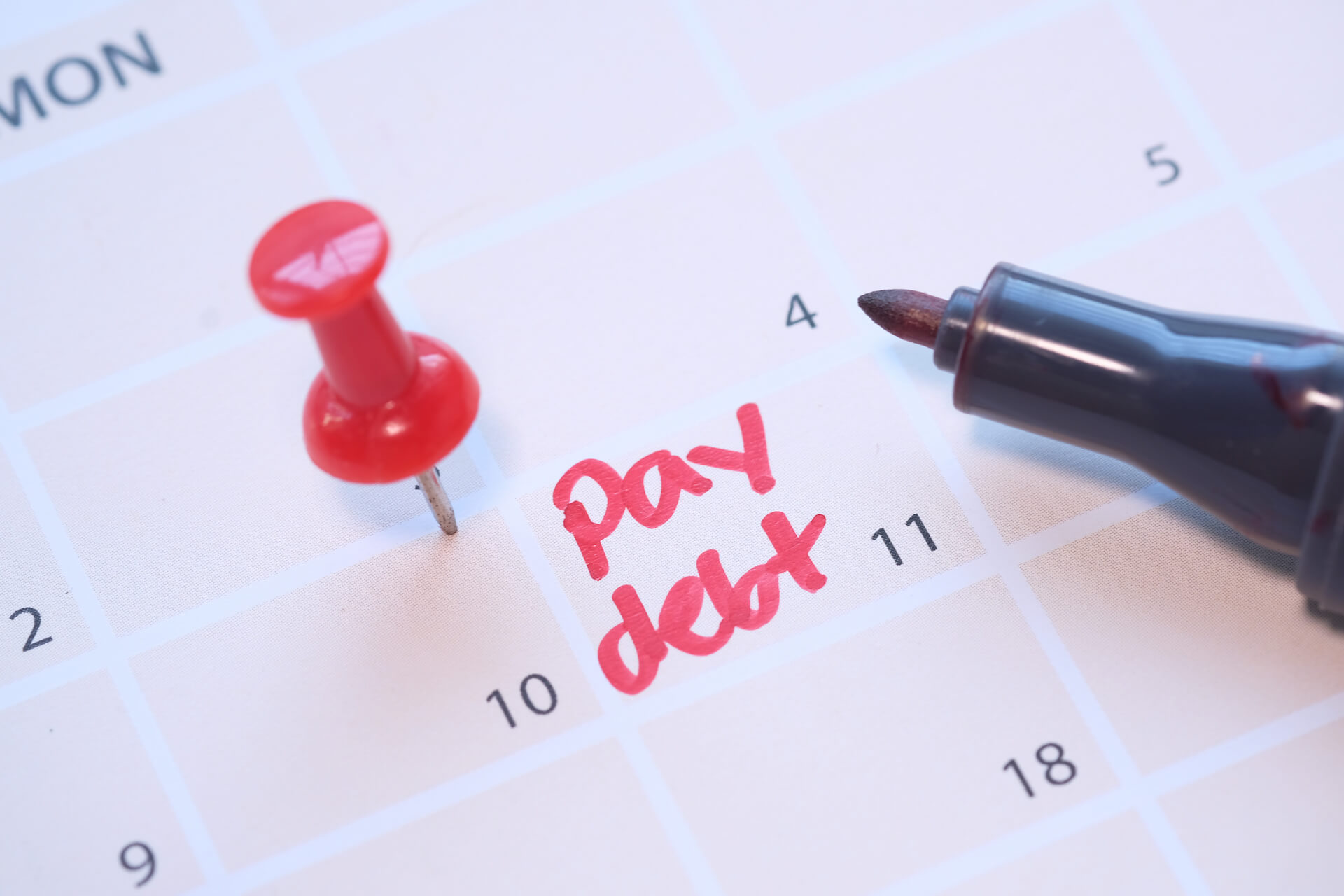 Pay debt reminder on calendar